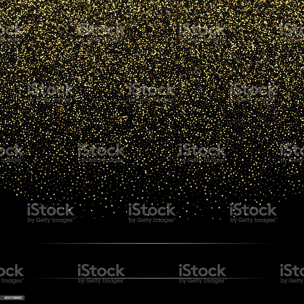Gold glitter background with sparkle shine light confetti. Vector glittering black background. Golden shimmer texture vector art illustration