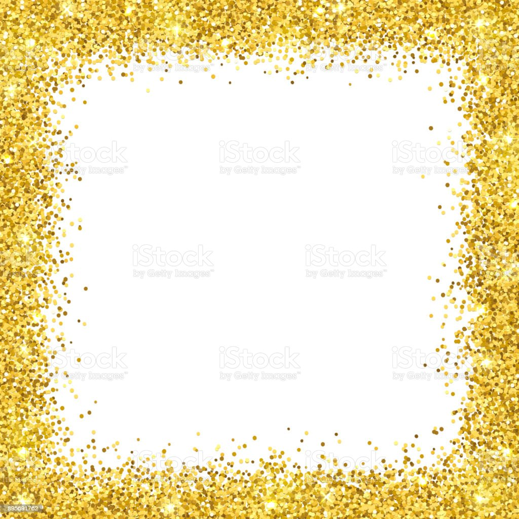 gold glitter border frame on white backround vector stock