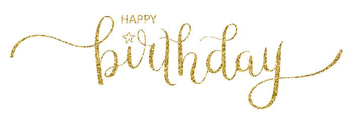 HAPPY BIRTHDAY! gold glitter brush calligraphy banner