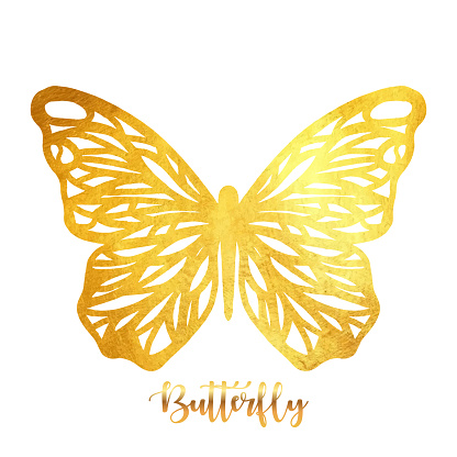 Gold Glitter Butterfly Ornament. Design Element for Greeting Cards and Business Card Designs. Sparkling Butterfly with Gold Texture. Spring Holidays Decoration Design Element.
