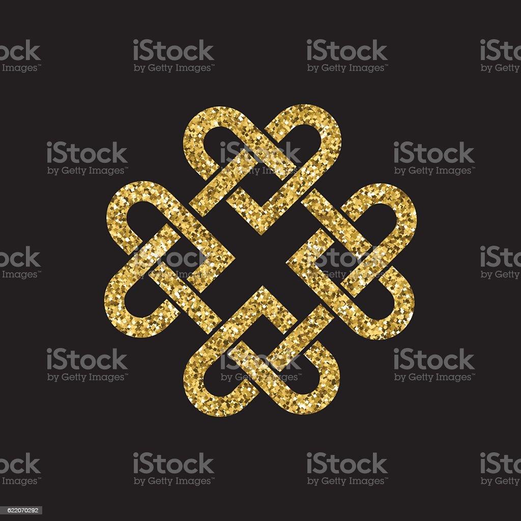Gold glitter celtic knot vector art illustration