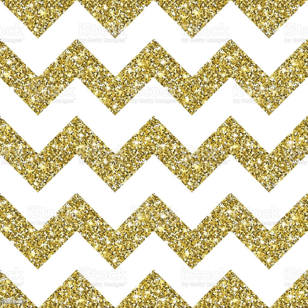 Gold Glitter Chevron Pattern Background vector art illustration