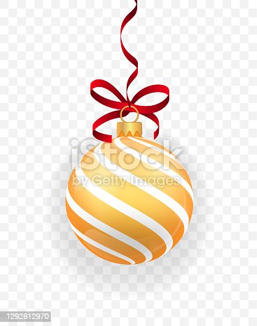 istock Gold glitter christmas ball hanging. Christmas bauble decoration elements. New year toy decoration. Holiday decoration element. Object isolated a background with transparency effect. Vector 1292612970