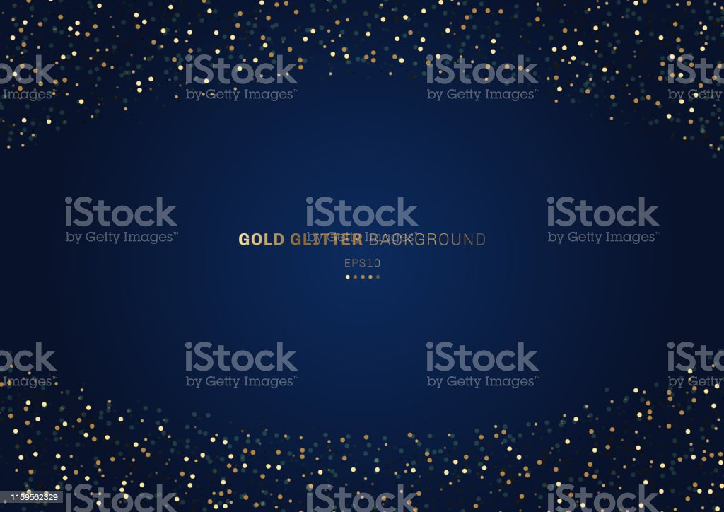 Gold glitter circles festive on dark blue background with space for your text. - Royalty-free Abstrato arte vetorial