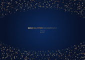 Gold glitter circles festive on dark blue background with space for your text. Vector illustration