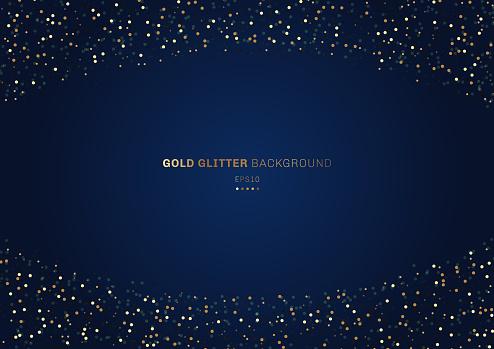 Gold Glitter Circles Festive On Dark Blue Background With Space For Your Text - Stockowe grafiki wektorowe i więcej obrazów Abstrakcja