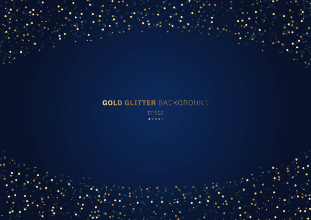 Gold glitter circles festive on dark blue background with space for your text. Gold glitter circles festive on dark blue background with space for your text. Vector illustration celebration stock illustrations