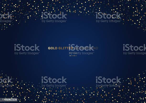 Gold Glitter Circles Festive On Dark Blue Background With Space For Your Text Stock Illustration - Download Image Now