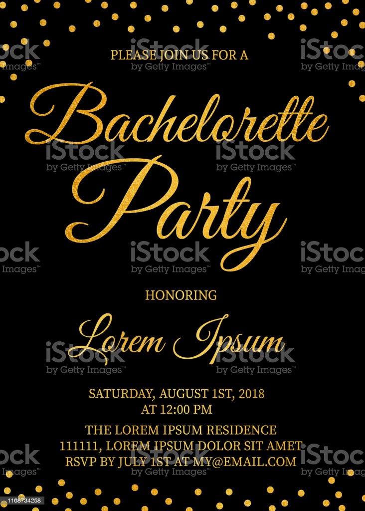 Gold Glitter Confetti Bachelorette Party Invitation Card