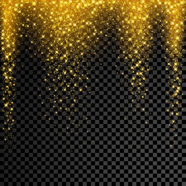 Gold-Glitter Konfetti auf transparenten Hintergrund. Vektor-Sterne funkeln-Regen mit leuchtenden Glanz splatter – Vektorgrafik