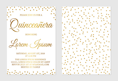 Gold glitter confetti Quinceañera invitation card  front and back side. Golden polka dots girl's 15th birthday party invite. Spanish and Latin countries traditions.