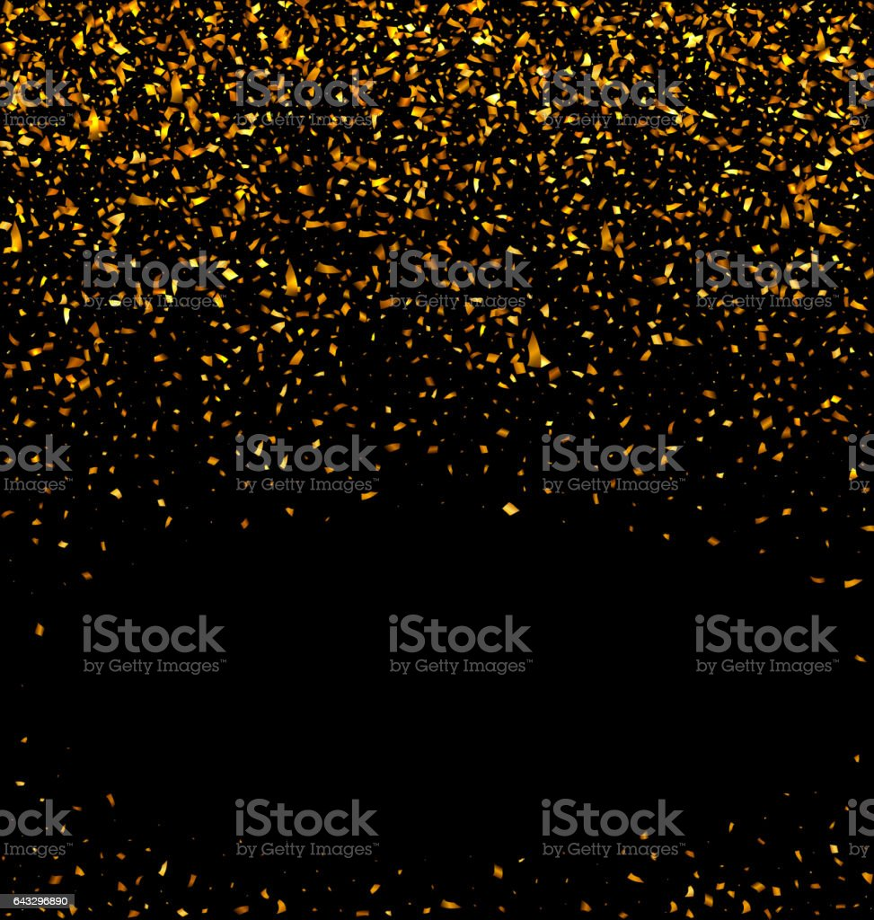 Gold glitter confetti texture on a black background vector art illustration