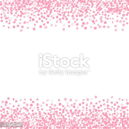 Pink glitter dots confetti on isolated backdrop. Random falling sequins with glossy sparkles. Template with pink glitter dots for party invitation, bridal shower and save the date invite.