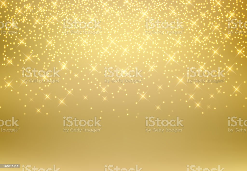 Gold glitter dust texture shining on golden background. Gold particles. Luxury design. Vector illustration vector art illustration