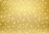 Gold glitter dust texture shining on golden background. Gold particles. Luxury design. Vector