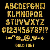 Gold glitter english alphabet, punctuation marks and numbers. Shiny font isolated on black background. Vector illustration,eps 10.