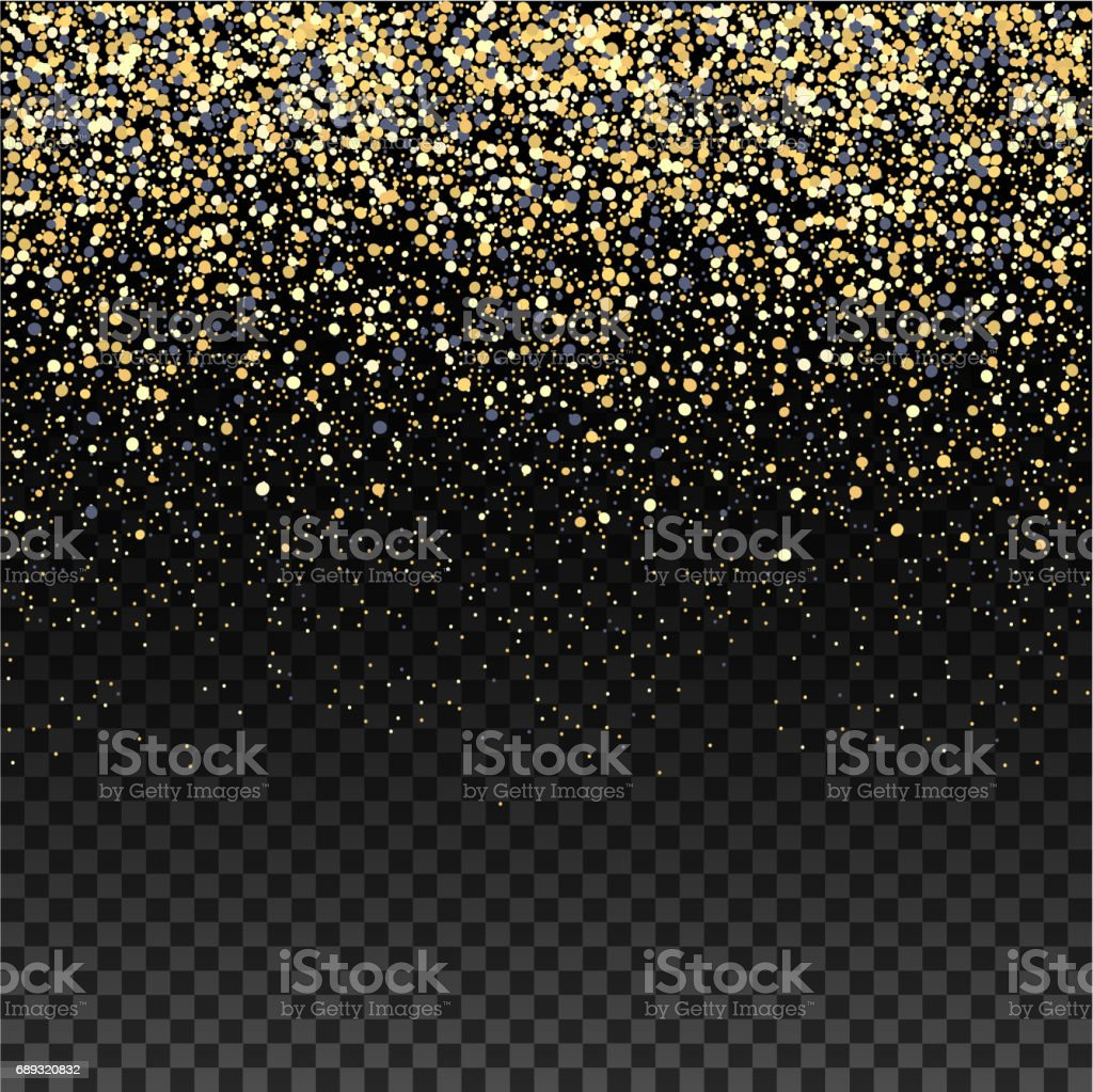 Gold glitter falling confetti on a dark checkered background. Golden grainy abstract texture . Vector vector art illustration