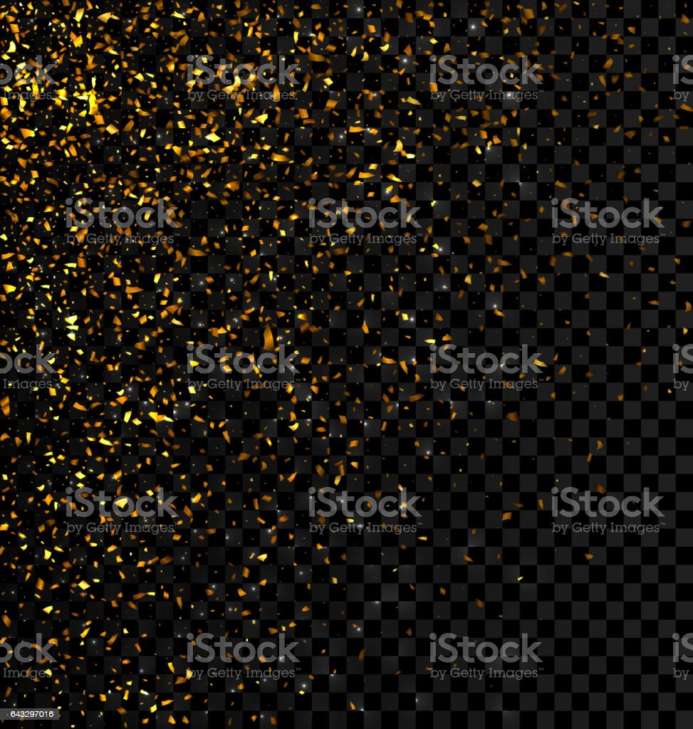 Gold glitter falling confetti on a dark checkered background vector art illustration