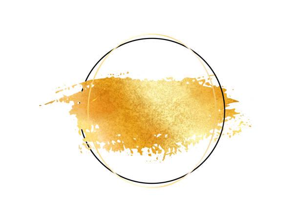goldglitter folie pinsel strich vektor. goldene farbe ausstrich mit kreis um rahmen isoliert auf weiss. leuchten aus metall kreative muster - kupfer stock-grafiken, -clipart, -cartoons und -symbole