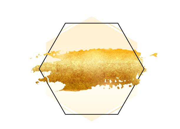 ilustrações, clipart, desenhos animados e ícones de vetor de curso escova folha glitter dourados. mancha de tinta dourada com armação de borda de hexágono isolada no branco. metal padrão criativo de brilho - planos de fundo borrados