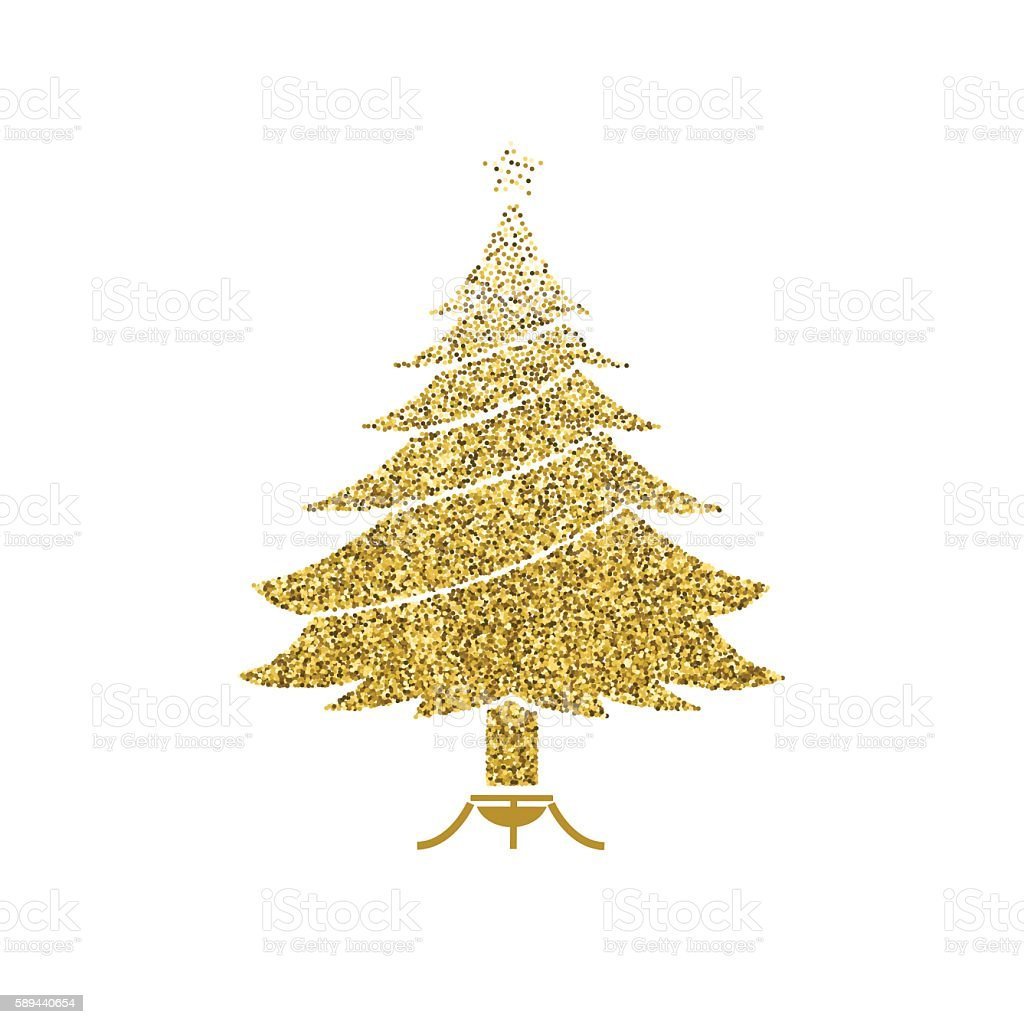 gold glitter foil christmas ornament christmas tree royalty free stock vector art - Gold Christmas Tree
