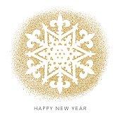 Gold Glitter Foil Christmas Ornament - Snowflake