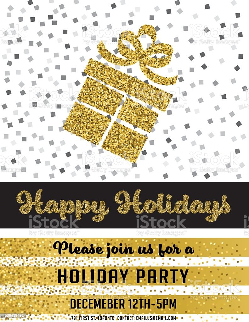 gold glitter foil christmas party invitation template お祝いの