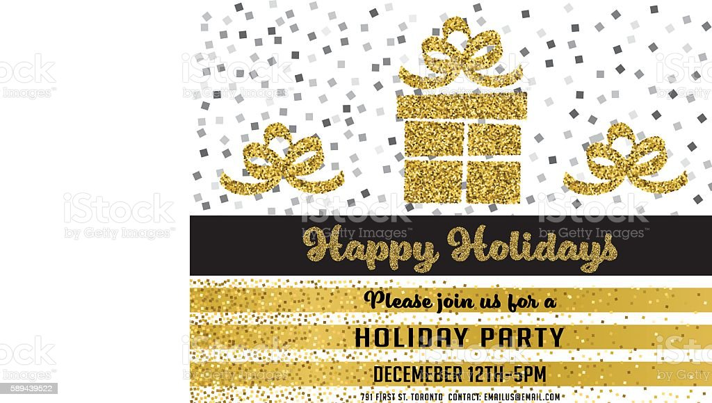 gold glitter foil christmas party invitation template のイラスト素材