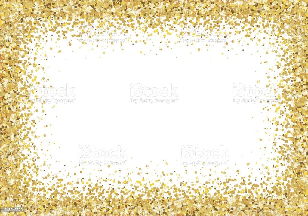 gold glitter frame on white background stock vector art