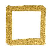 Gold Glitter Frame on white background - Illustration