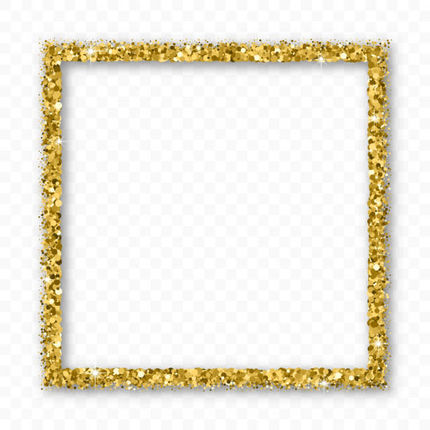Gold Glitter Frame With Bland Shadows. Gold Glitter Frame With Bland Shadows Isolated On Transparent  Background. Abstract Shiny Texture Squares Border. Golden Explosion Of Confetti. Vector Illustration, Eps 10. sergionicr stock illustrations