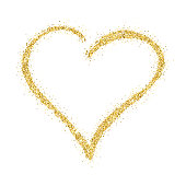 Gold glitter hand drawn vector hearts on white background