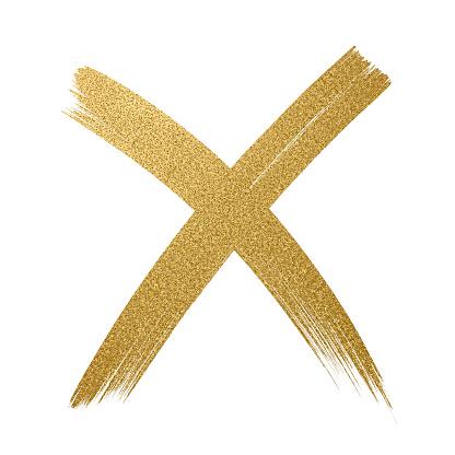 Gold Glitter Icon. Cross shape. Checkmark OK icon. Glitter golden brush stroke on white background.