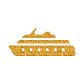 Cruise ship icon in gold glitter texture. Sparkle luxury style vector illustration.