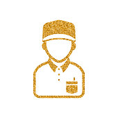 Delivery man icon in gold glitter texture. Sparkle luxury style vector illustration.