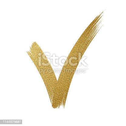 Gold Glitter Icon. Tick sign. Checkmark OK icon. Glitter golden brush stroke on white background - Illustration