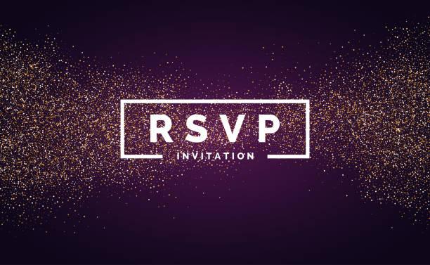 ilustrações, clipart, desenhos animados e ícones de rsvp. glitter dourado. convite para o evento. - eventos de gala
