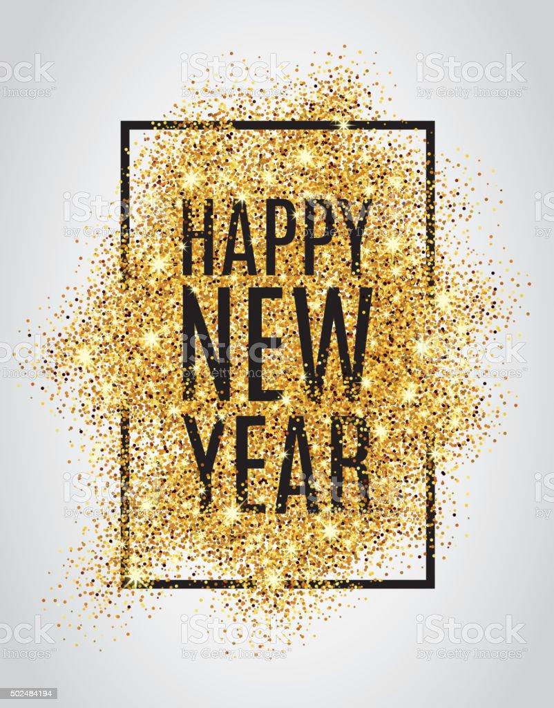 Gold glitter New Year vector art illustration