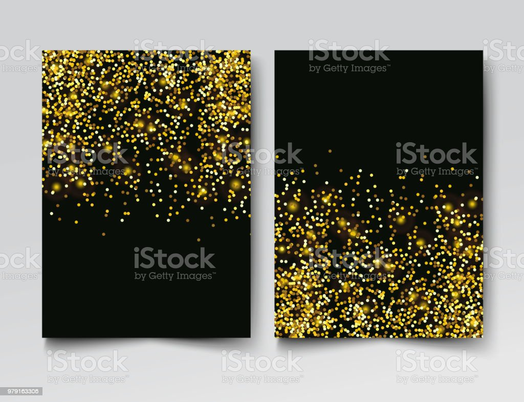 Gold Glitter Particles On Black Background Invitation Template Stock  Illustration - Download Image Now - iStock