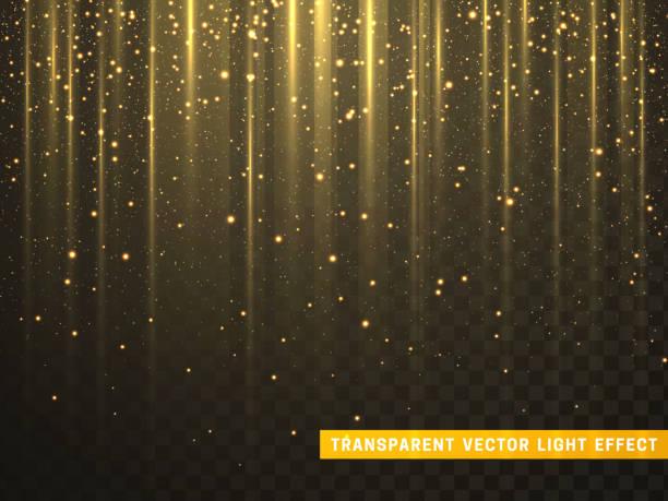 bildbanksillustrationer, clip art samt tecknat material och ikoner med guld glitter partiklar på transparent bakgrund. gyllene glödande lampor magiska effekter. - disco lights