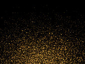 Gold glitter particles on transparent background. Golden glowing lights magic effects. Glow sparkles, vector illustration.