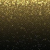 Gold glitter particles for the card, invitation. Lights effect isolated on transparent background. Graphic concept for your design.