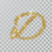 Gold glitter powder letter D in  hand painted style.