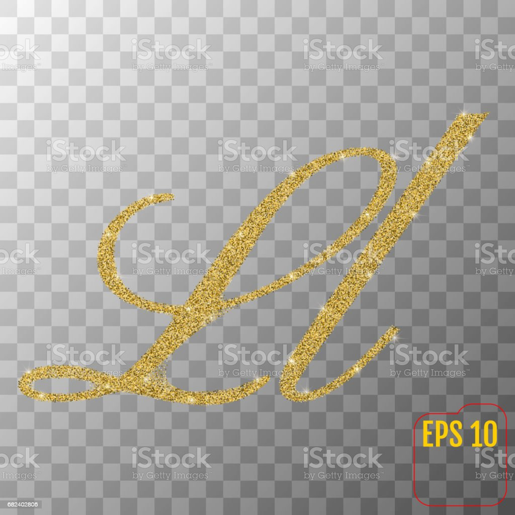 Gold glitter powder letter L in hand painted style on transparent background. Golden font type letter L, uppercase. Vector illustration. royalty-free gold glitter powder letter l in hand painted style on transparent background golden font type letter l uppercase vector illustration stock vector art & more images of abundance