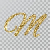 Gold glitter powder letter M in  hand painted style.