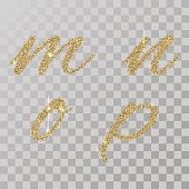 Gold glitter powder letter m, n, o, p  in  hand painted style.