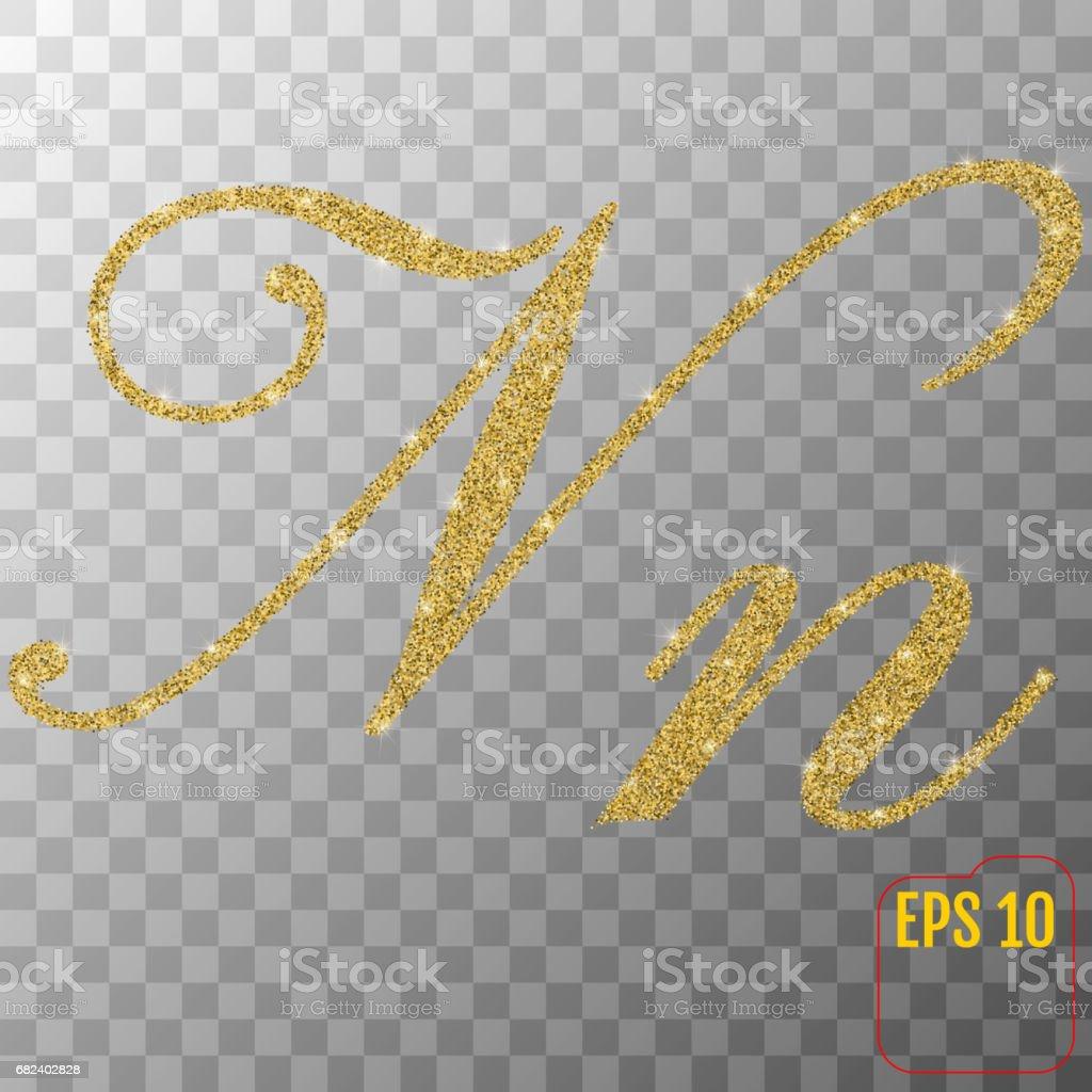Gold glitter powder letter N in hand painted style on transparent background. Golden font type letter N, uppercase. Vector illustration. royalty-free gold glitter powder letter n in hand painted style on transparent background golden font type letter n uppercase vector illustration stock vector art & more images of abundance