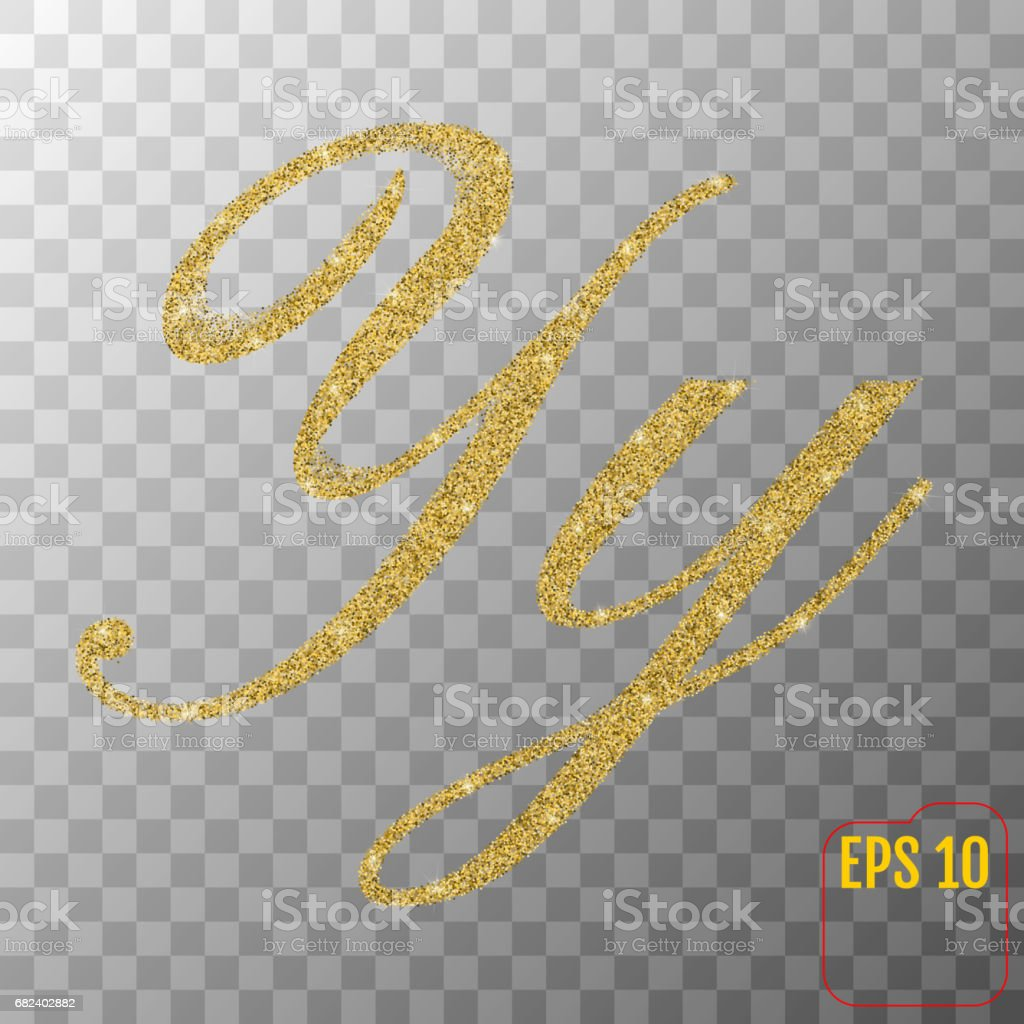 Gold glitter powder letter Y in hand painted style on transparent background. Golden font type letter Y, uppercase. Vector illustration. royalty-free gold glitter powder letter y in hand painted style on transparent background golden font type letter y uppercase vector illustration stock vector art & more images of abundance