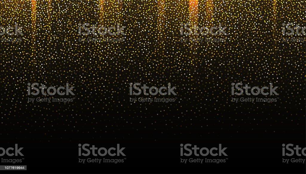 Gold Glitter Seamless Border On Black Background Glittering Falling