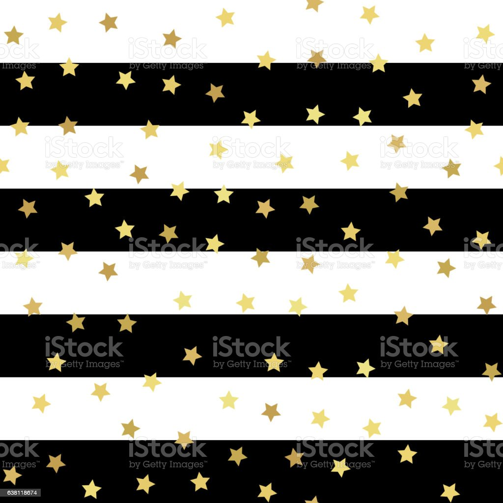 Gold glitter seamless pattern, striped background vector art illustration